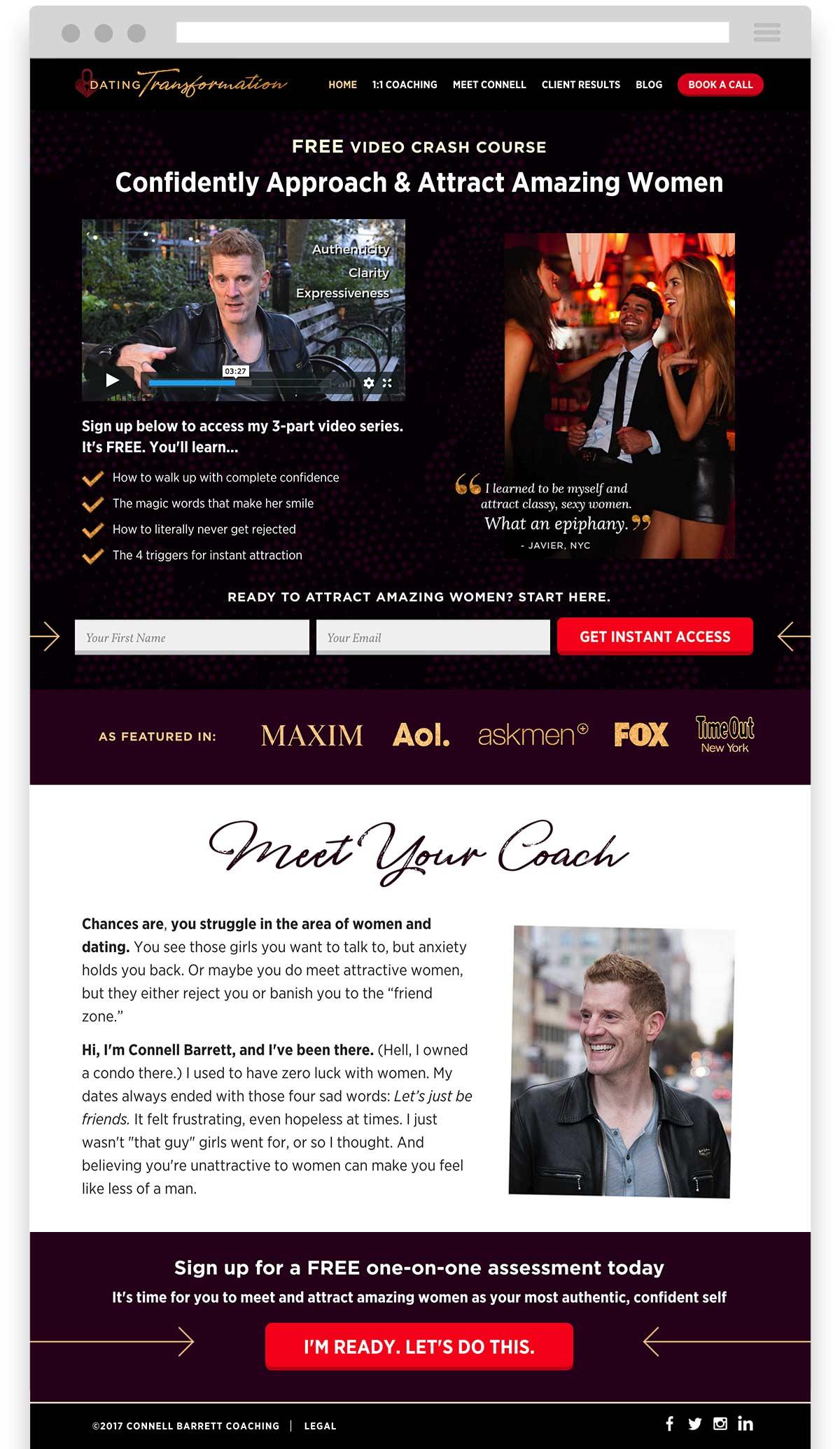 Connell Barrett Dating Transformation website design