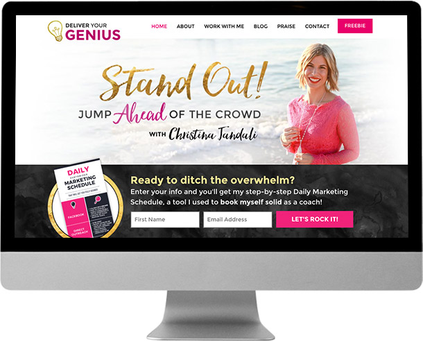 Christina Jandali / Deliver Your Genius web design by Laura Patricelli of Design Mastermind NYC