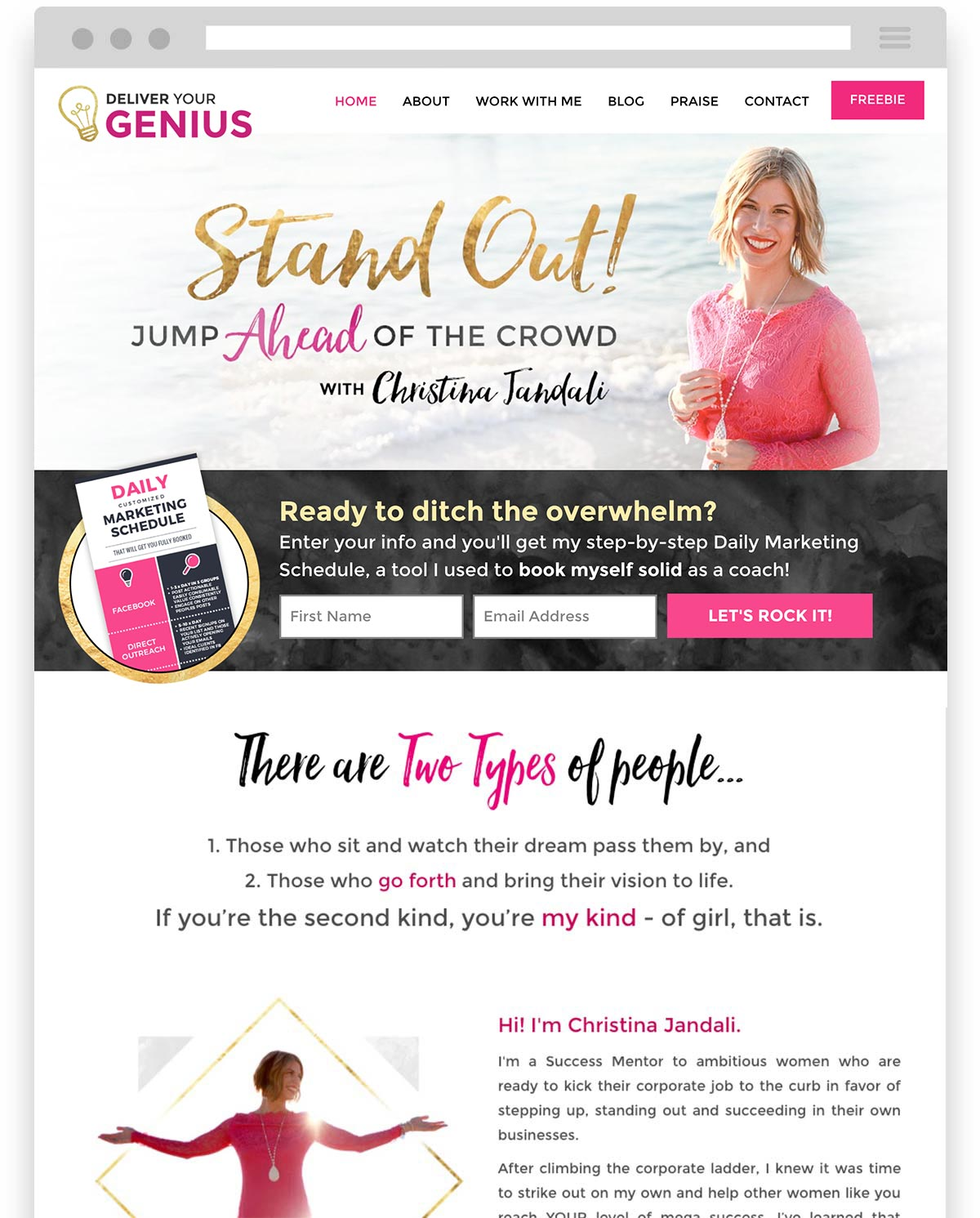 Christina Jandali Deliver your Genius website design by Laura Patricelli of Design Mastermind NYC