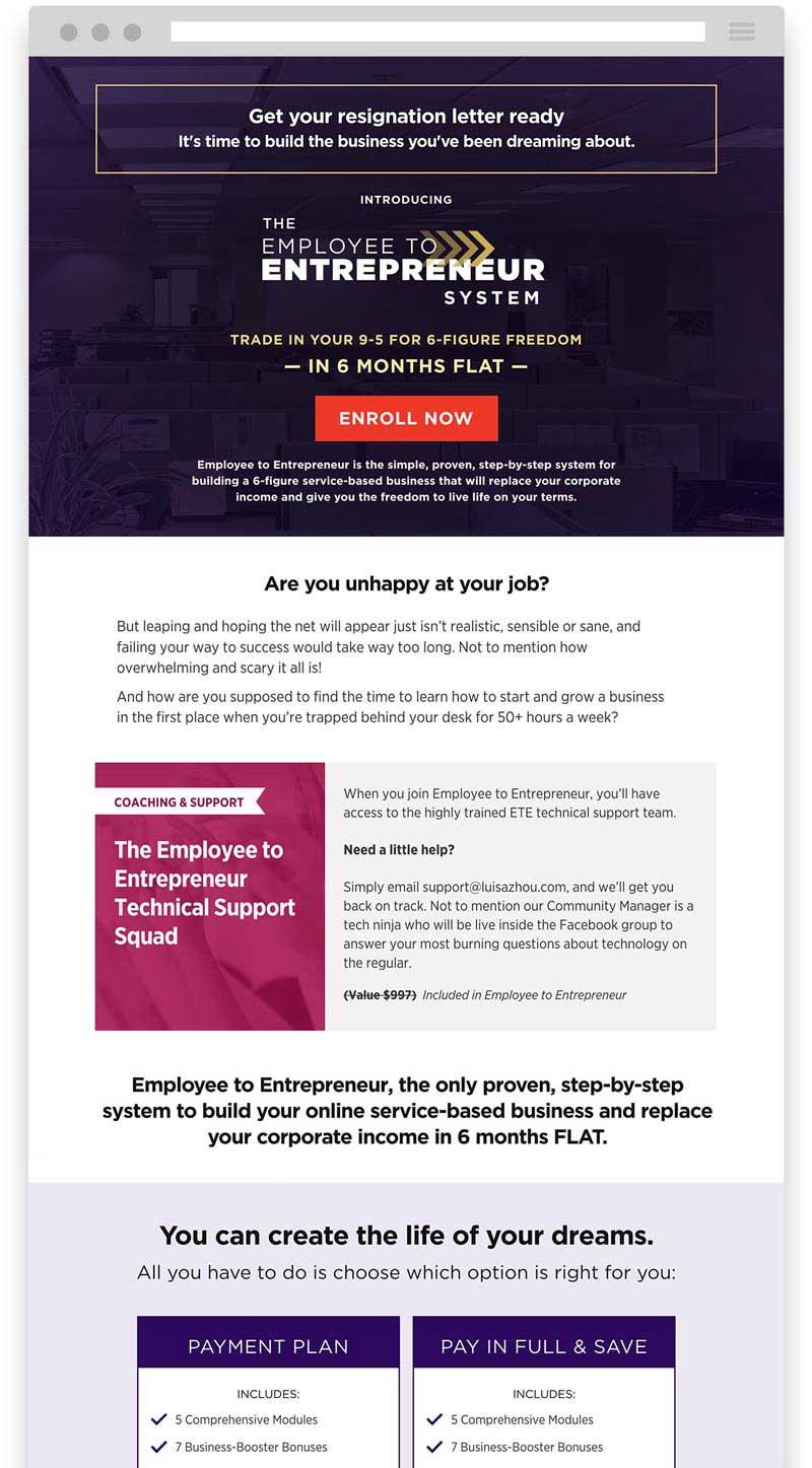 Luisa Zhou Employee to Entrepreneur sales page design