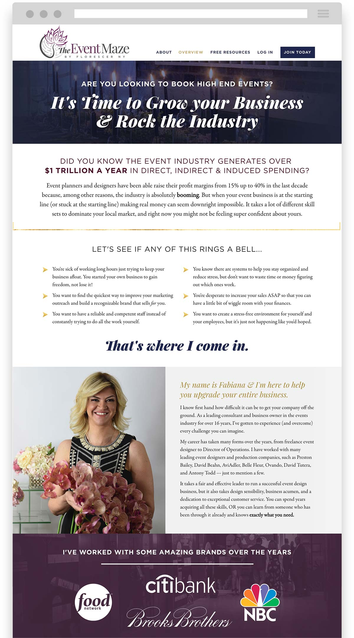 The Event Maze with Fabiana Scott sales page design