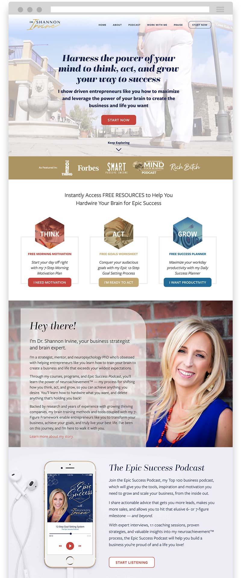 Dr. Shannon Irvine Website Design